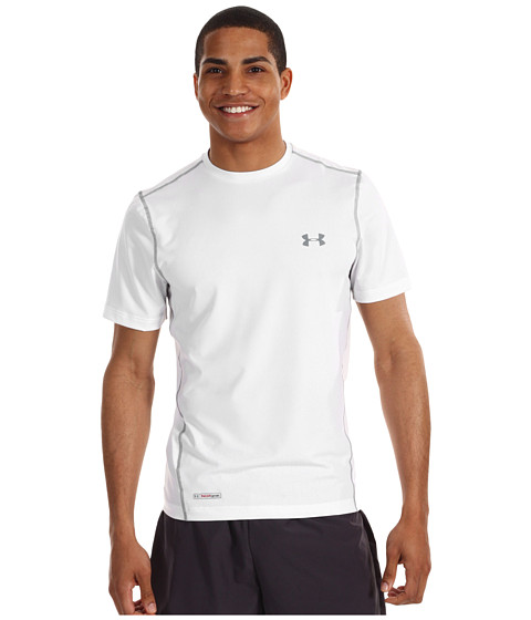 Tricouri Under Armour - HeatGearî Sonic Fitted S/S Tee - White/Steel