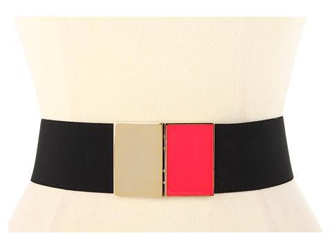 Curele Kate Spade New York - Pop Of Color Rectangular Buckle Belt - Black/Bazooka Pink