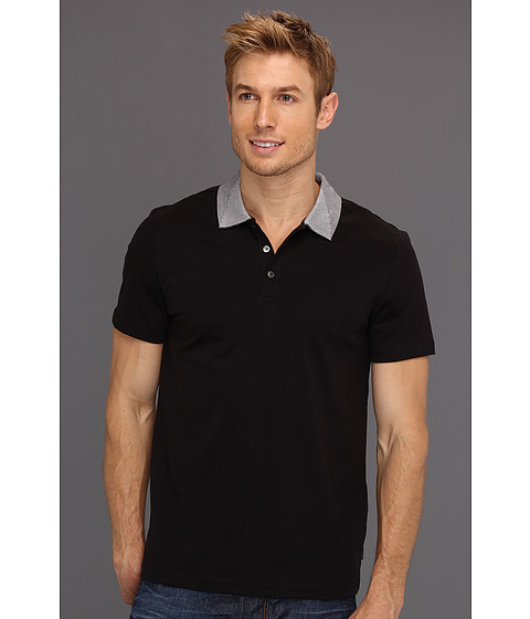 Tricouri Calvin Klein - S/S Liquid Cotton Polo w/ Engineered Stripe Collar - Black