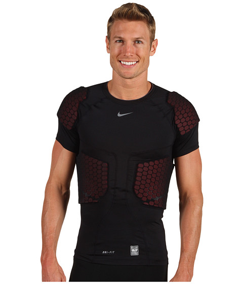 Tricouri Nike - Pro Combat Hyperstrong Football 5-Pad Compression Top - Black/Varsity Red/Cool Grey