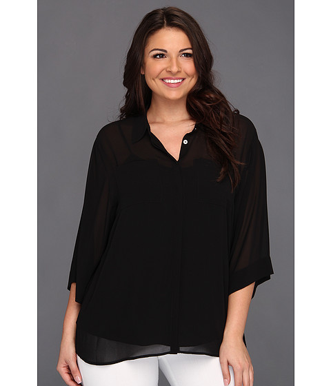 Bluze DKNY - Plus Size Easy 3/4 Sleeve Button Thru Band Collar Blouse - Black