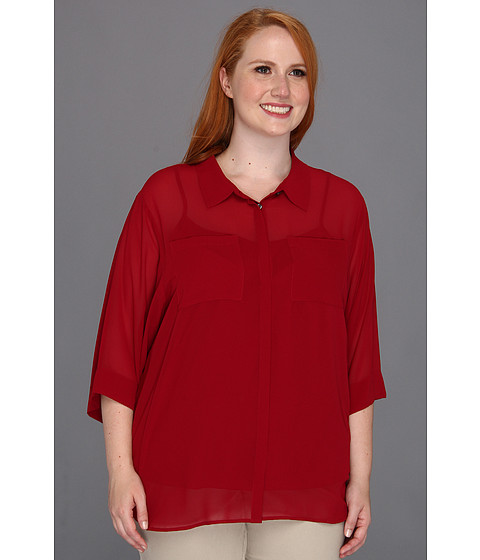 Bluze DKNY - Plus Size Easy 3/4 Sleeve Button Thru Band Collar Blouse - Vampire Red