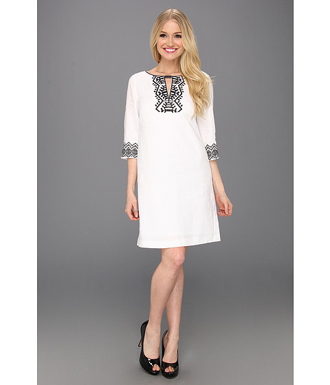 Rochii Donna Morgan - Helena - 3/4 Sleeve Sheath With Schiffli Embroidery Detail - White/Black