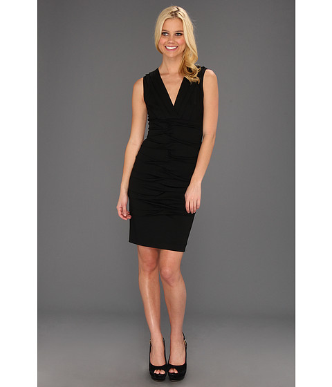 Rochii Nicole Miller - Dakota V-Neck Pleated Dress - Black