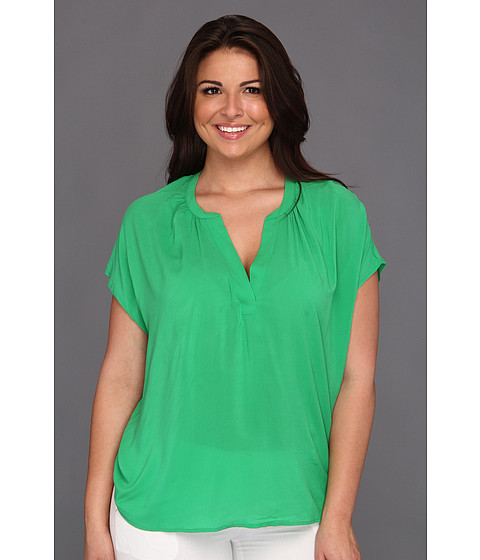 Bluze Vince Camuto - Plus Size Easy Split Neck Mixed Media Top - Field Green