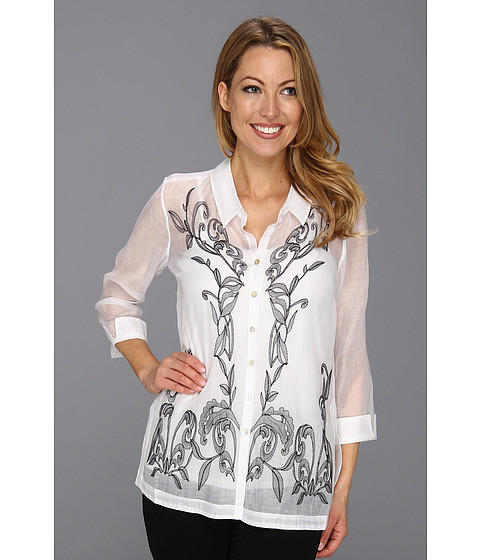 Bluze NIC+ZOE - Caliente Exotic Flowers Top - Paper White