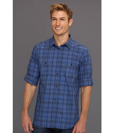 Tricouri Calvin Klein - Roll-Up Sleeve End On End Plaid Woven - True Indigo