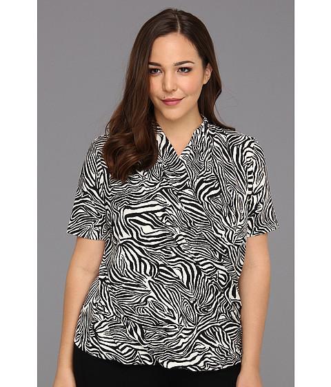 Bluze Vince Camuto - Plus Size Elbow Sleeve Wrap Zebra Top - New Ivory