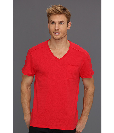 Tricouri Calvin Klein - Pieced S/S V-Neck w/ Pocket - Snapper