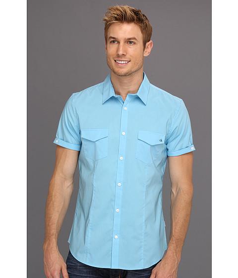 Tricouri Calvin Klein - S/S Plaid Stretch Poplin Collar Woven - Island Blue