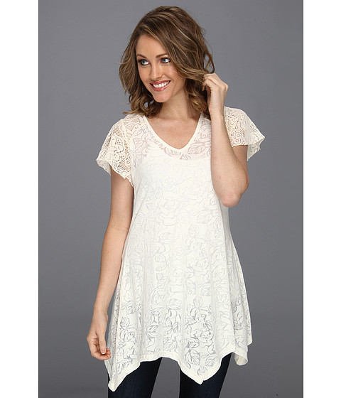 Bluze Roper - Rose Floral Burnout Jersey Tunic - White