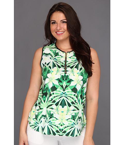 Bluze Vince Camuto - Plus Size S/L Pleather Trim Tropic Henley Blouse - Grass Green