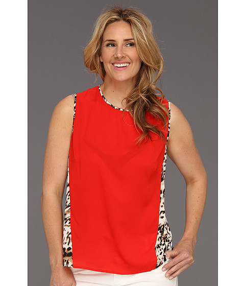 Tricouri Calvin Klein - Plus Size Colorblock Top w/ Print - Tango Red