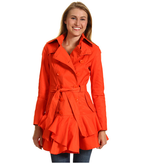 Jachete Betsey Johnson - 3/4 Length DB Raincoat w/ Ruffle Hem - Orange Explosion