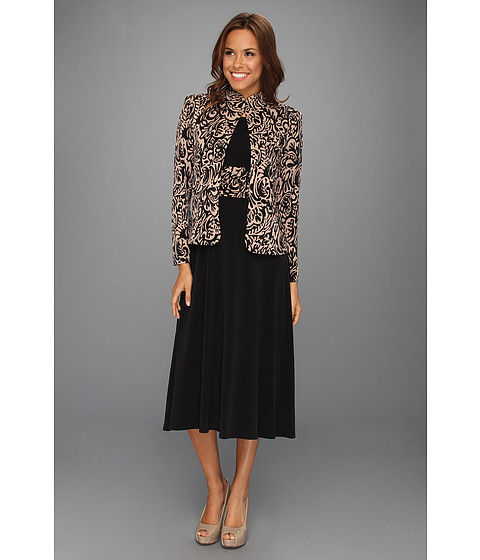 Rochii Jessica Howard - 3/4 Sleeve Mandarin Collar Jacket Dress - Black/Tan