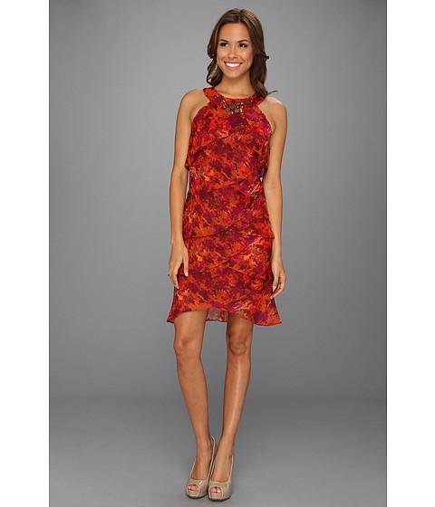Rochii Jessica Howard - Beaded Neck Shutter Pleat Dress - Orange