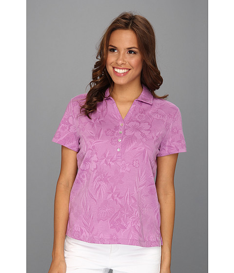 Tricouri Caribbean Joe - Short Sleeve 4-Button Yoke Neck Top - Meadow Orchid