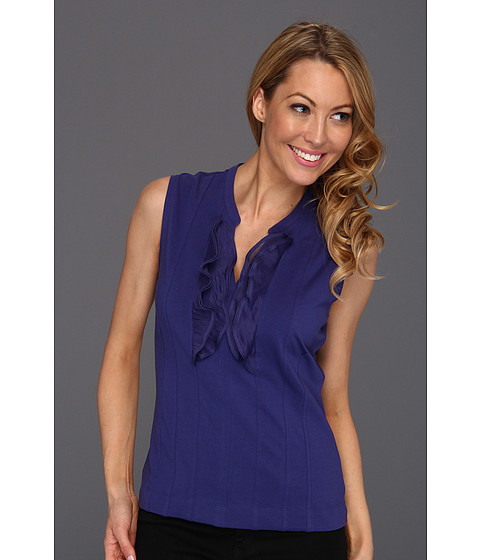 Bluze NIC+ZOE - Caliente Softly Ruffled Top - Blue Sapphire