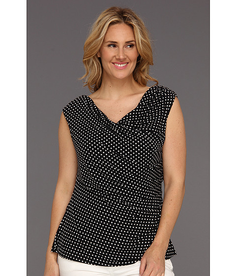 Bluze Vince Camuto - Plus Size S/L Rouched Polka Dot Top - Rich Black