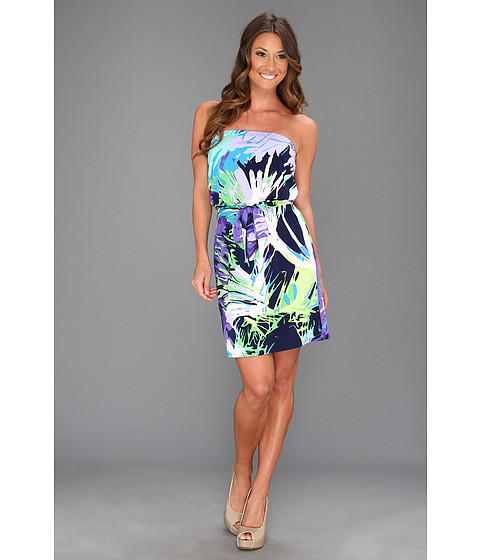 Rochii Laundry by Shelli Segal - Strapless Tropical Print Dress - Violetta Multi