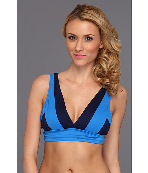 Costume de baie DKNY - Color Block V-Neck Top w/ Removable Soft Cups - Electric Blue