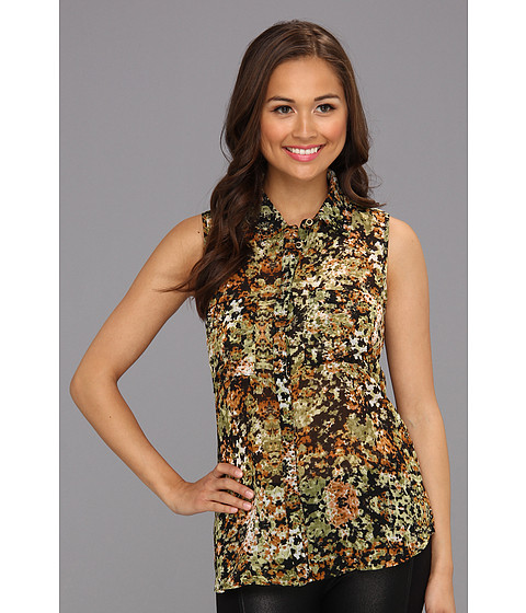 Bluze Sanctuary - Sleeveless Soft Shirttail - Camo Floral
