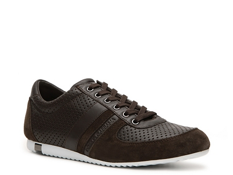 Pantofi D&G - Perforated Leather & Suede Sneaker - Brown