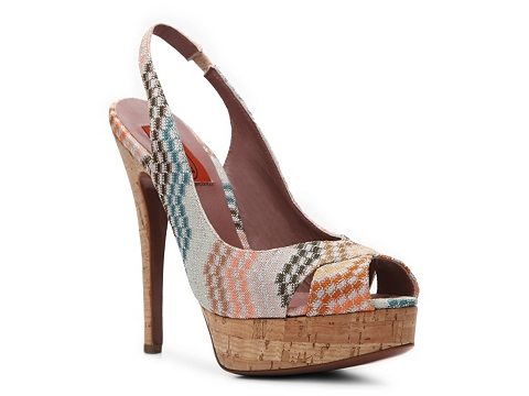 Pantofi Missoni - Metallic Printed Fabric Slingback Pump - Green/Orange Multi