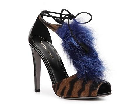 Sandale Sergio Rossi - Pony Hair Peep Toe Sandal - Tan/Black