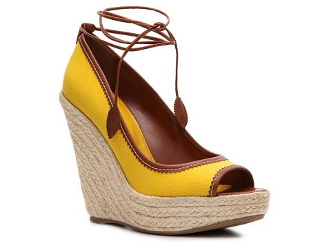 Pantofi Sergio Rossi - Canvas Wedge Pump - Yellow