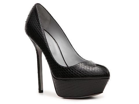 Pantofi Sergio Rossi - Reptile Leather Keyhole Pump - Black
