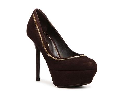 Pantofi Sergio Rossi - Suede Zipper Pump - Dark Brown