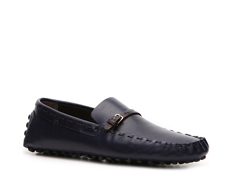 Pantofi Sergio Rossi - Leather Buckle Loafer - Navy Blue