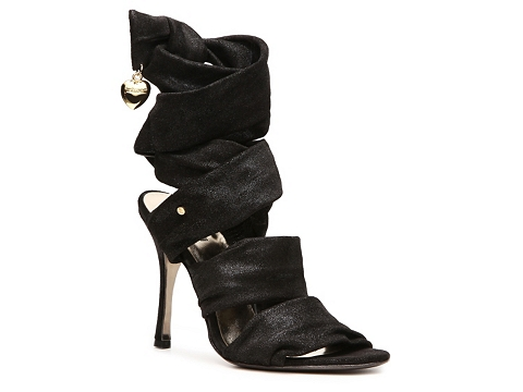 Sandale Just Cavalli - Metallic Suede Ankle Wrap Sandal - Black
