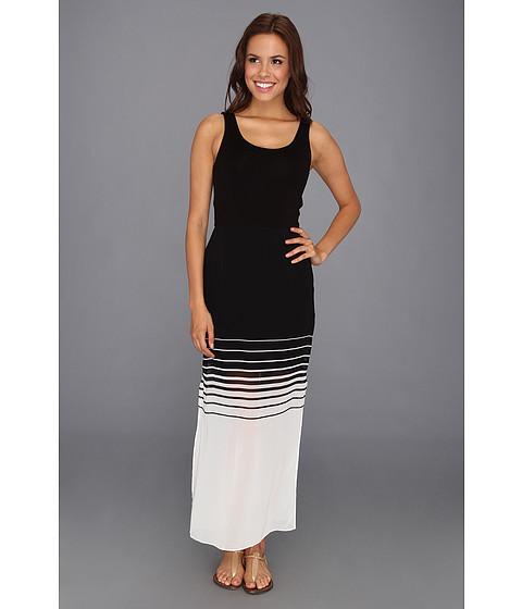 Rochii Vince Camuto - Chiffon Overlay Inverted Stripe Maxi Dress - Rich Black