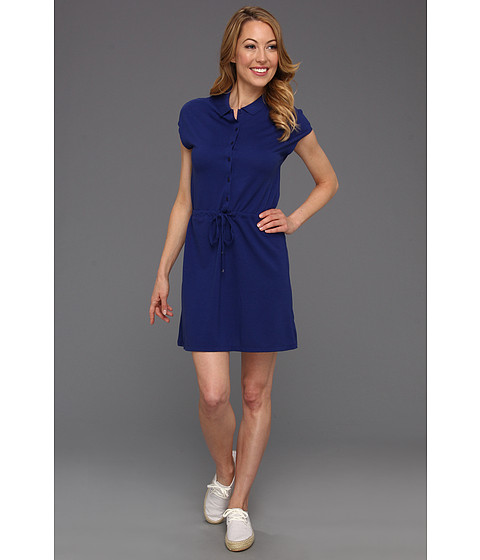 Rochii Lacoste - Cap Sleeve Fluid Pique Drawstring Waist Polo Dress - Varsity Blue