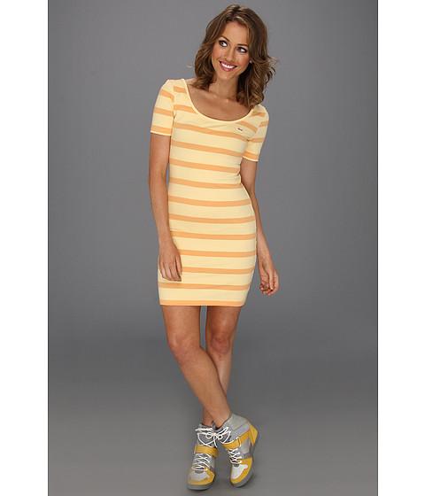 Rochii Lacoste - L!VE Half Sleeve Stripe Scoopneck Pique Dress - Joy Yellow/Melba Peach Orange