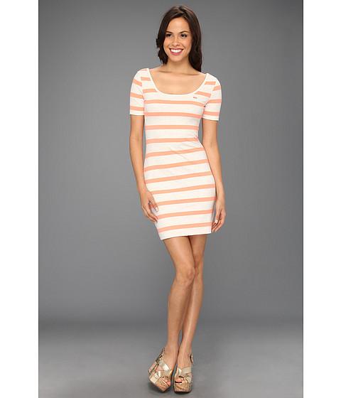 Rochii Lacoste - L!VE Half Sleeve Stripe Scoopneck Pique Dress - Moon Grey/Fluorescent Coral Orange