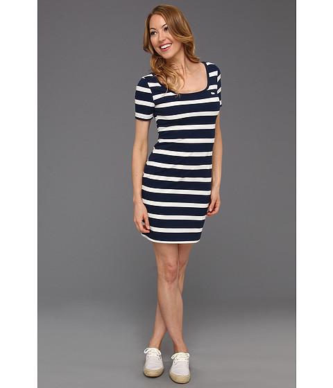 Rochii Lacoste - L!VE Half Sleeve Stripe Scoopneck Pique Dress - Ship Blue/Cake Flour White