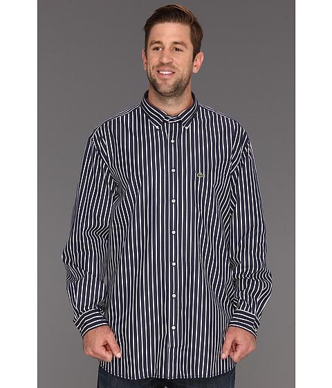 """Bluze Lacoste - \""""Big\"""" L/S Button Down Poplin Bold Stripe Woven Shirt - Shadow Blue/White"""
