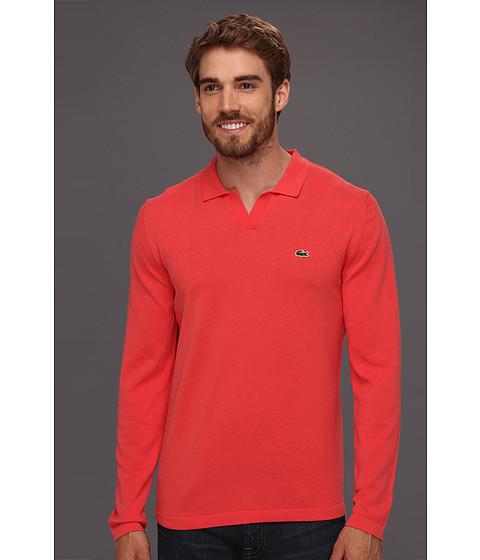 Bluze Lacoste - Cotton Johnny Collar Sweater - Guava