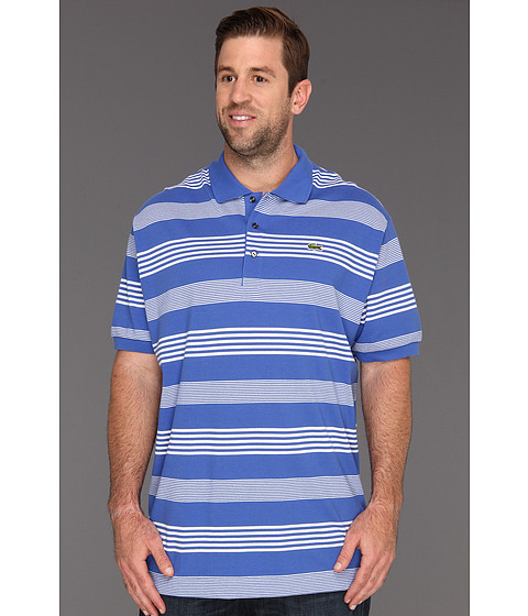 "Tricouri Lacoste - ""Big\"" S/S Cluster Stripe Pique Polo - Obscure Blue/White"