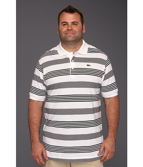 "Tricouri Lacoste - \""Tall\"" S/S Cluster Stripe Pique Polo - White/Black"
