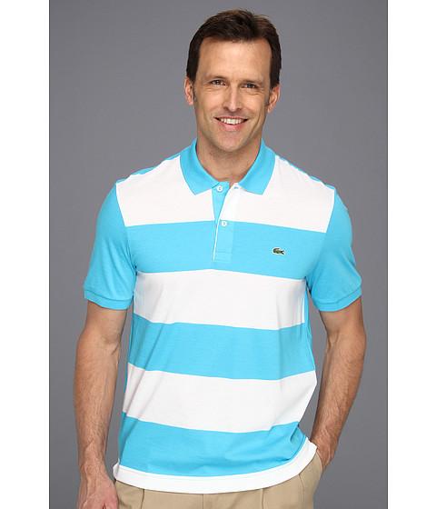Tricouri Lacoste - S/S Jersey Wide Stripe Polo - Hawaiian Blue/White