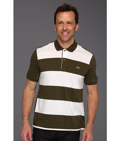 Tricouri Lacoste - S/S Jersey Wide Stripe Polo - Tortuga Green/White
