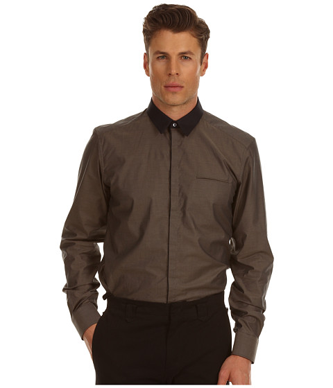 Bluze Costume National - Slim Fit Shirt with 60s Collar - Dark Beige
