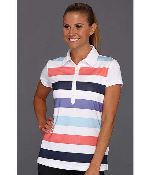 Tricouri adidas - ClimaCoolî Rugby Stripe Polo \13 - White/Waterfall/Watermelon/Nautical