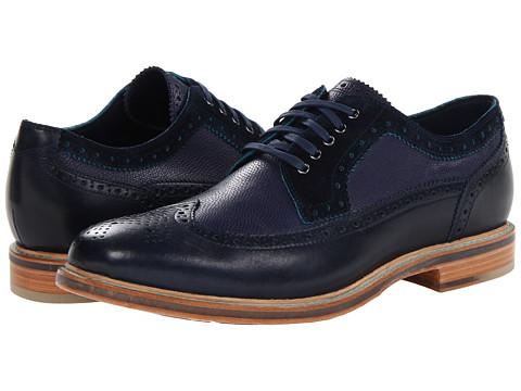 Pantofi Cole Haan - Cooper SQ Wingtip - Black Iris/Black Iris Grain