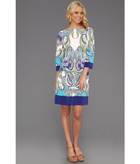 Rochii Donna Morgan - Callie Jersey Shift Dress - Marina Mist Multi/Purple Iris