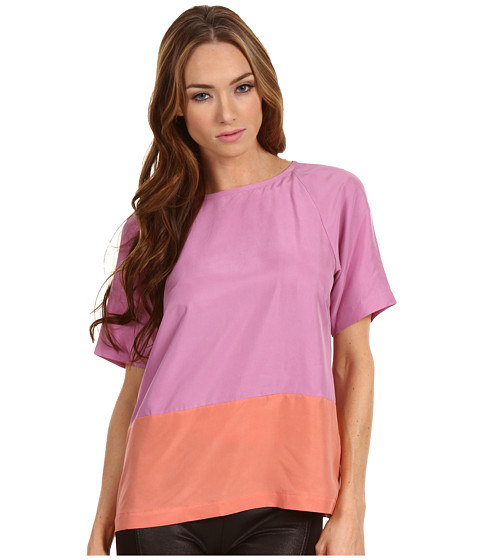 Bluze Tibi - Colorblocked Silk Easy Short Sleeve Top - Purple/Rouge Multi